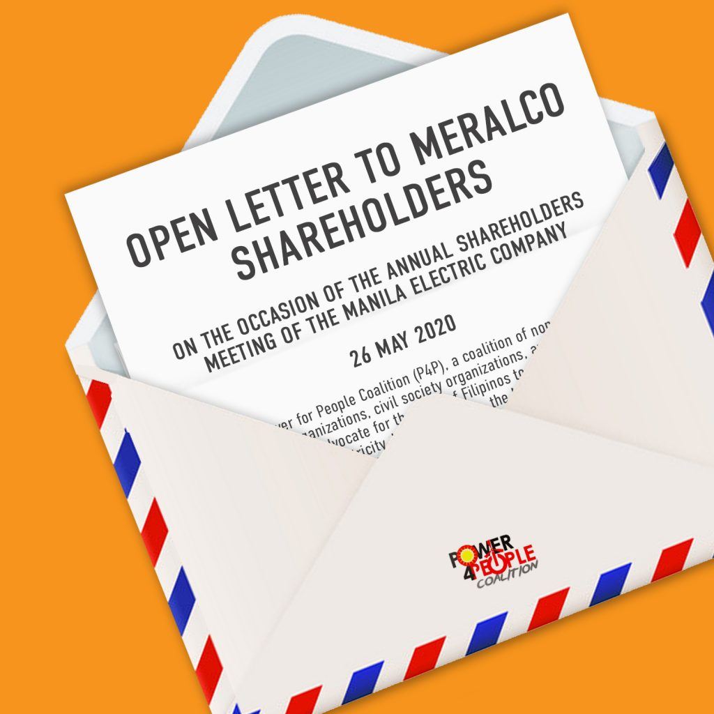 Open Letter to Meralco Shareholders on the Occasion of the Annual Shareholders Meeting of the Manila Electric Company